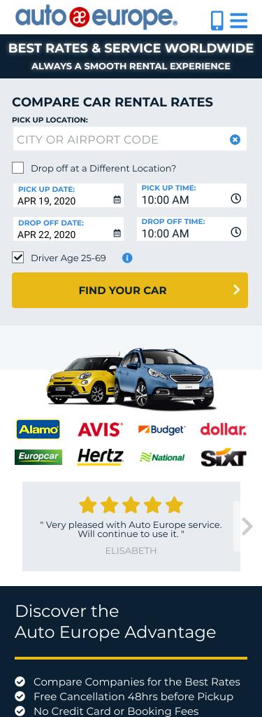 Auto Europe Car Rentals Coupon