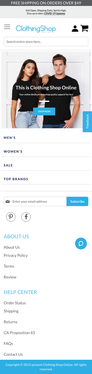 Clothing Shop Online Coupon
