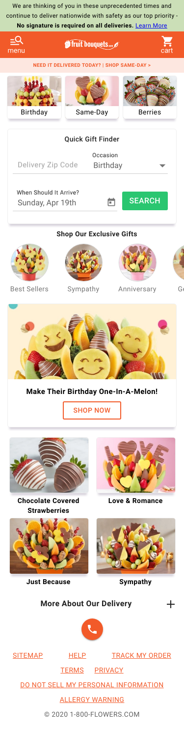 Fruit Bouquets by 1800Flowers.com Coupon