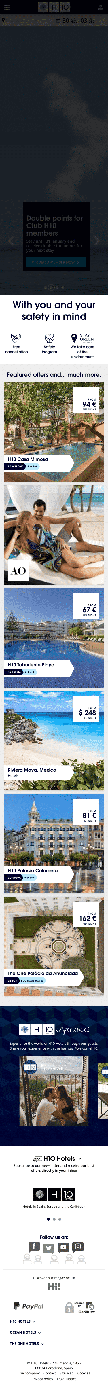 H10 Hotels US Coupon