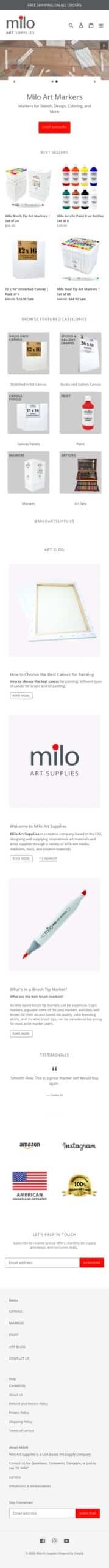 Milo Art Supplies Coupon