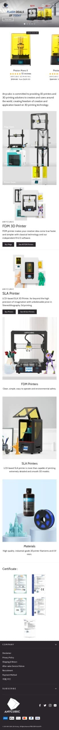 Shenzhen Anycubic Technology Co.,LTD Coupon